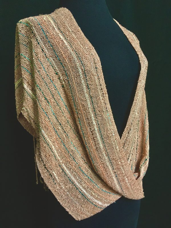 champagne handwoven swoop poncho