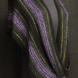 black purple and green woven swoop layers, handmade poncho for women,