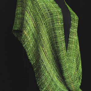 green handwoven swoop poncho