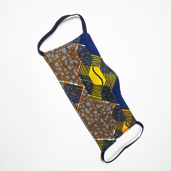 blue and yellow african cotton handmade face mask with elastic ear straps