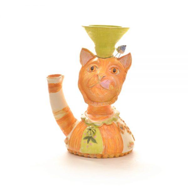 orange and white handmade ceramic vase of cat