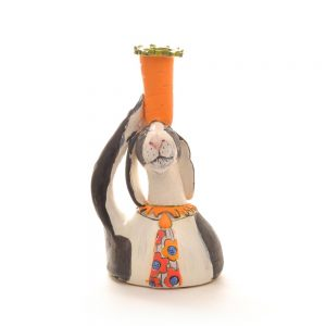 handmade ceramic bunny sculpture with carrot vase on head, whimsical animal clay sculptural vase