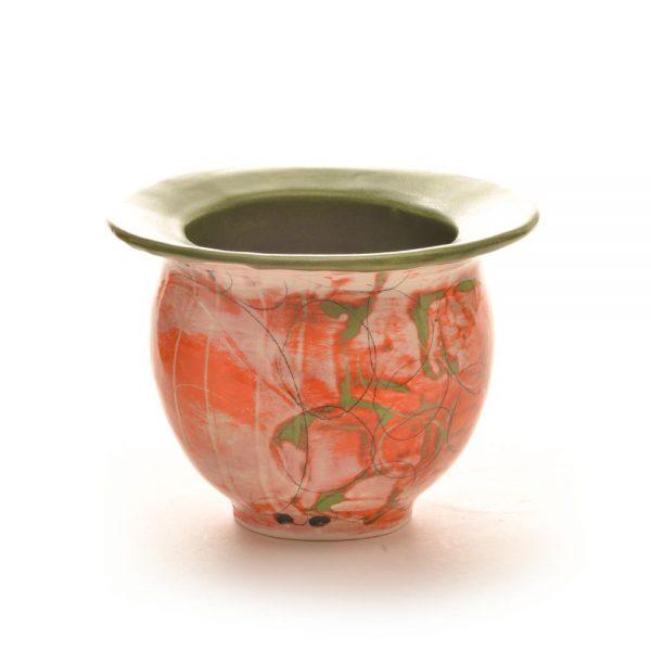 orange green and white short vase