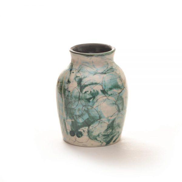 blue green bud vase