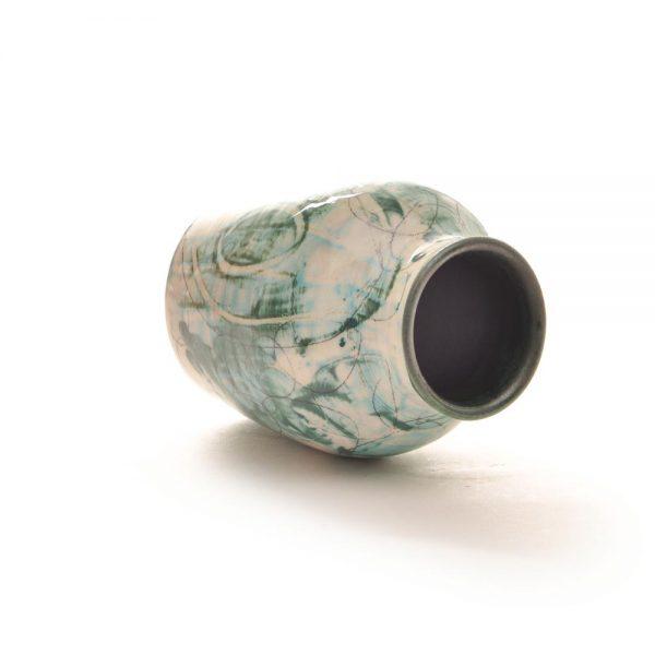 blue green handmade bud vase