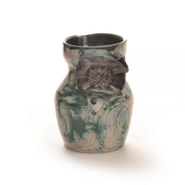 blue green ceramic handmade creamer, river arts district, fly coop studios