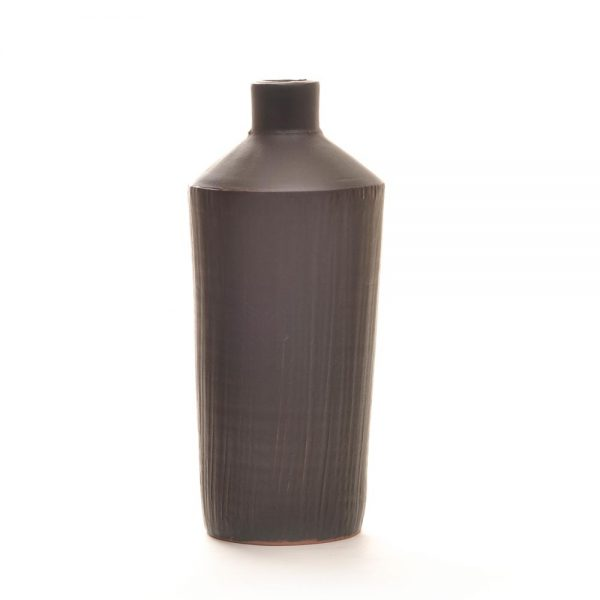 black ceramic bottle vase