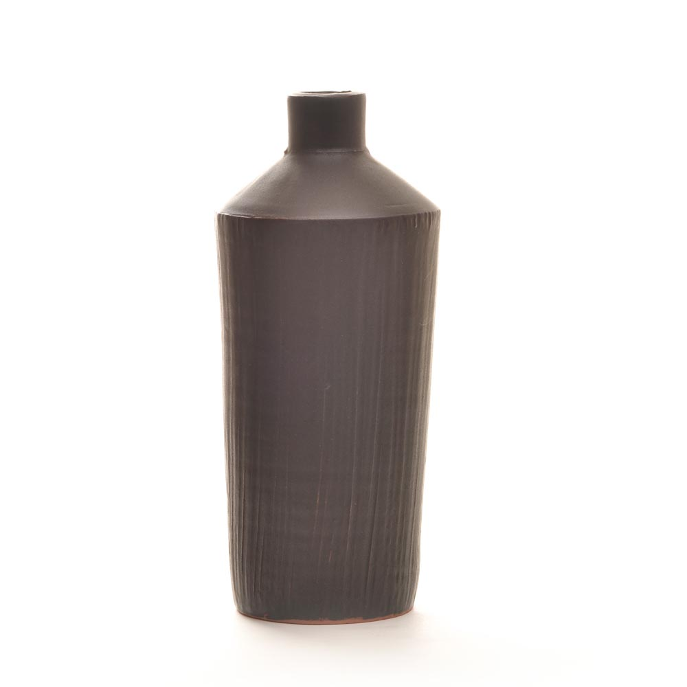 black ceramic bottle vase