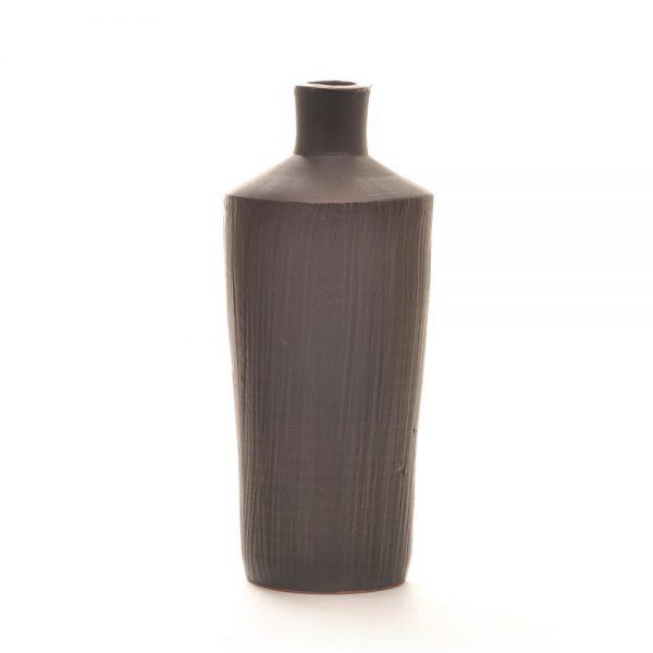 black ceramic handmade bottle vase