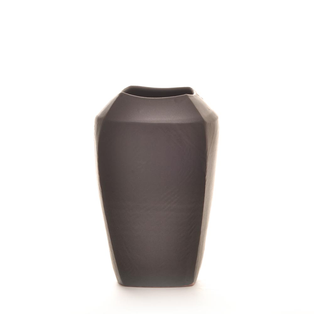 black ceramic handmade vase