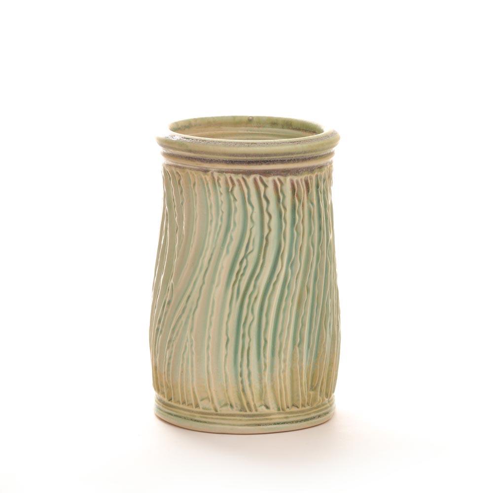light green carved cylinder vase, ikebana handmade vase