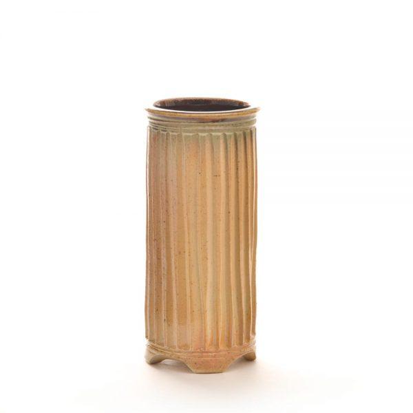 wood fired carved vase