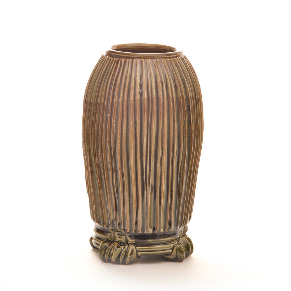 round celedon wheel thrown and carved vase