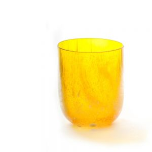 yellow short handmade glass vase