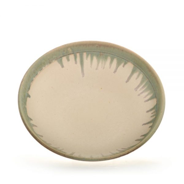 inside view of white and green large serving bowl