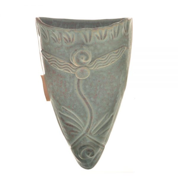 decorative turquoise ceramic wall vase with stamped decoration