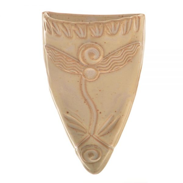 cream colored handmade ceramic wall vase