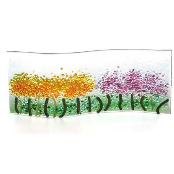 yellow and purple fused sheet of glass field of flowers
