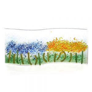 yellow and blue field of flowers of fused glass