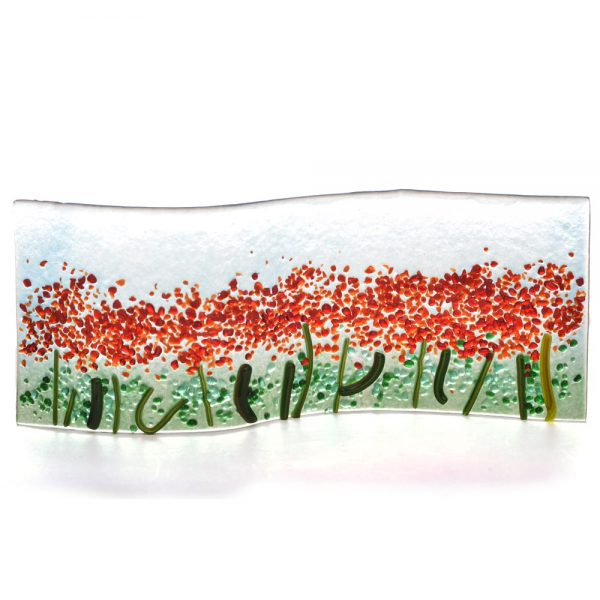 red flower field glass panel, fused glass floral landscape
