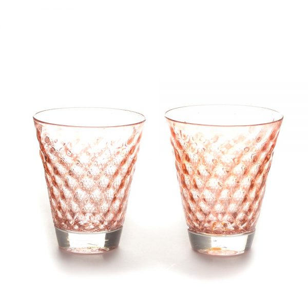 pink textured glass blown rocks galss