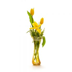 crystal and yellow handmade glass vase with tulips