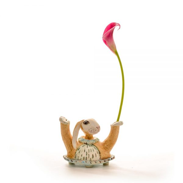 happy tan rabbit with small vase arm, handmade ceramic rabbit vase with small bud vase in it's arm.