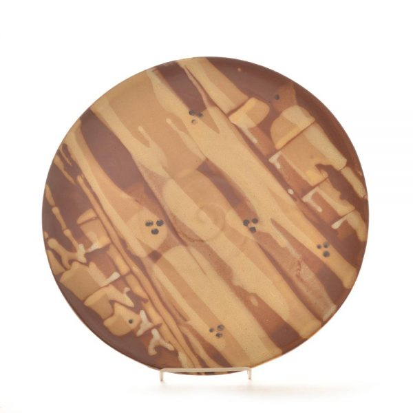 painted striped flat stoneware platter