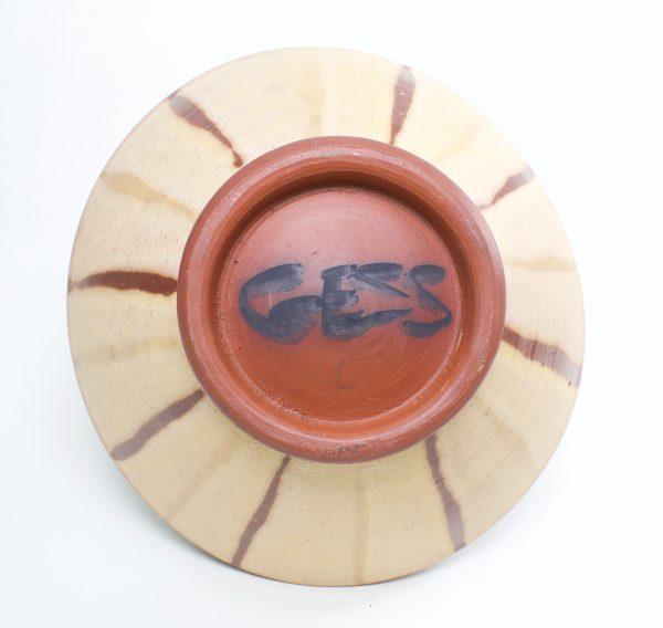 handmade ceramic brown and off white pasta bowl, north carolina pottery`