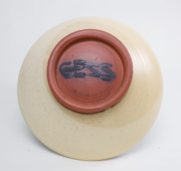 bottom view of handmade ceramic brown and off white pasta bowl, north carolina pottery