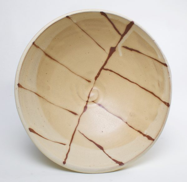 inside view of handmade ceramic brown and off white pasta bowl, north carolina pottery