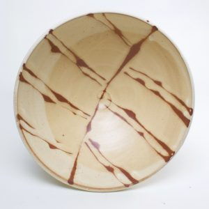 handmade ceramic brown and off white pasta bowl, north carolina pottery