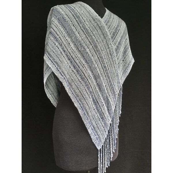 back view of light blue handwoven cotton swoop shawl