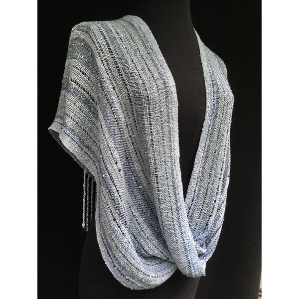 light blue handwoven cotton swoop shawl