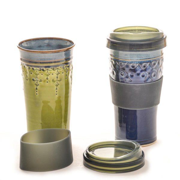 handmade ceramic stamped travel mug