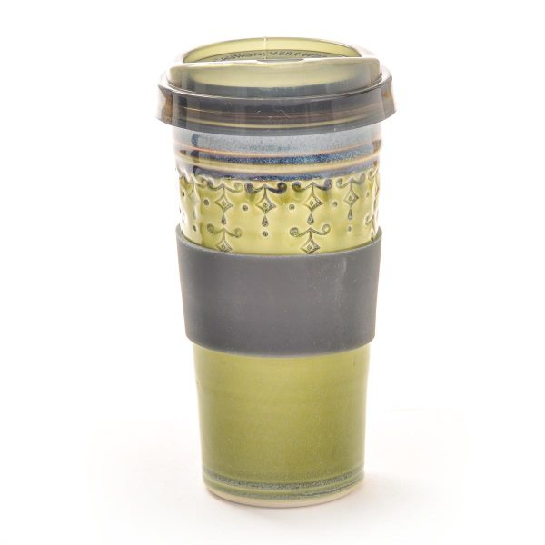 green handmade ceramic stamped travel mug