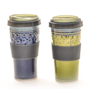 handmade ceramic travel mug in blue and green