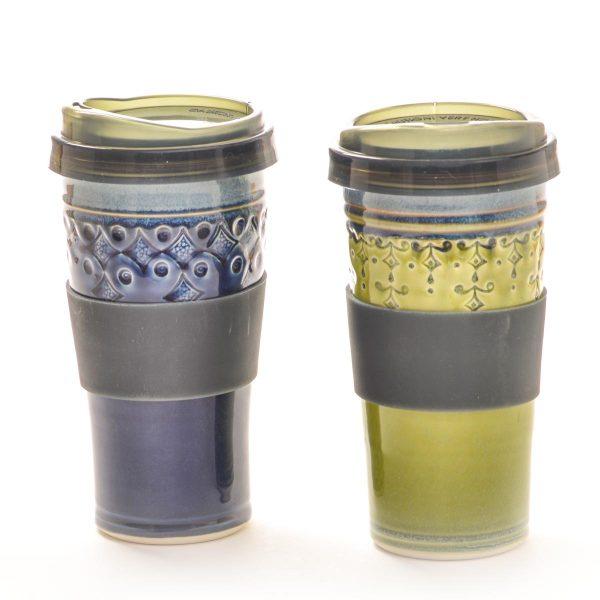 handmade ceramic travel mug in blue and green