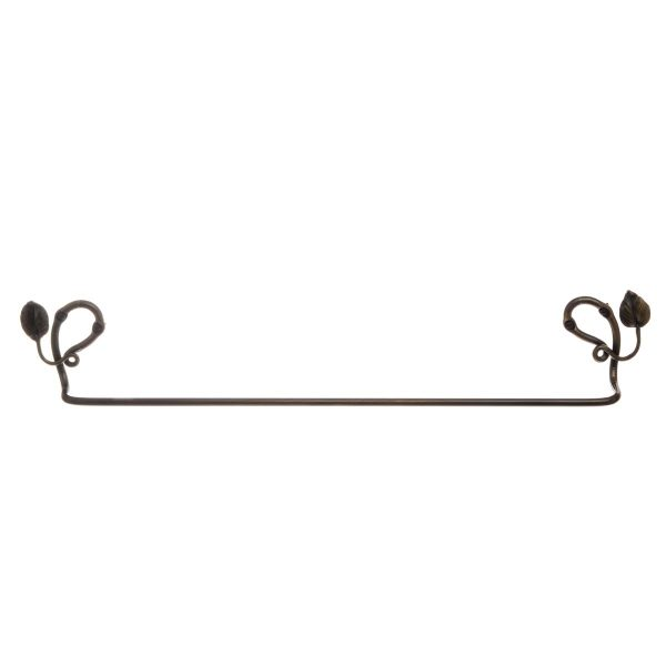 "hand forged 24""metal towel bar with leaf decoration"