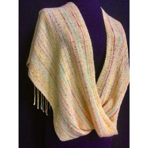 light yellow handwoven shawl