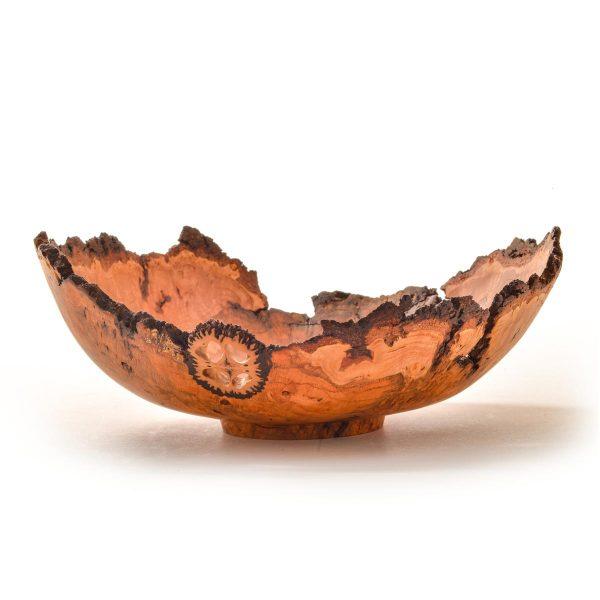 turned natural edge cherry burl bowl with walnut slice