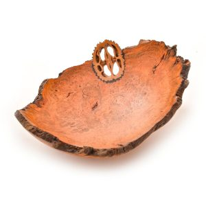 small turned cherry burl bowl with slice of walnut