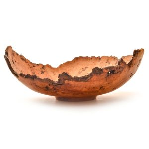 turned red oak natural edge bowl with trimmed foot