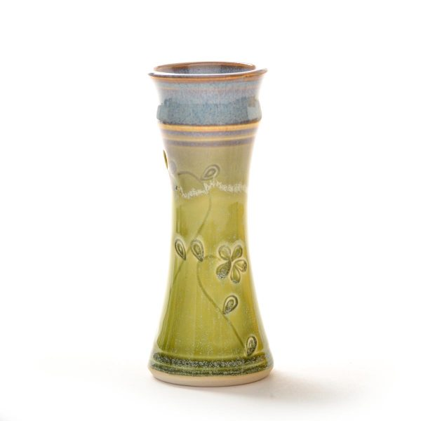 green wheel thrown and stamped small bud vase