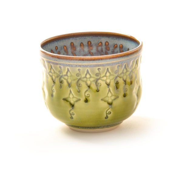 green wheel thrown and stamped ceramic handmade wine glass, thrown and stamped pottery wine cup