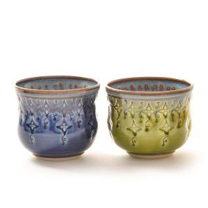 wheel thrown and stamped ceramic handmade wine glass, thrown and stamped pottery wine cup