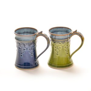 8 oz. stamped mug, blue and green handmade ceramic mug