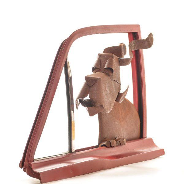 dog in window sculpture folk art center