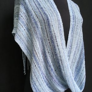 ice blue handwoven swoop poncho