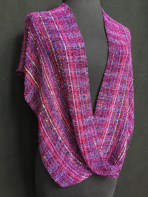 fuchsia hot pink handwoven twisted poncho
